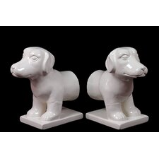 Ceramic Dog Bookends (Set of 2)