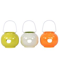 Ceramic Lantern with Apple Cut-Out Set of Three