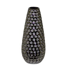 Ceramic Bottle Vase with Crumpled Design and Polished Top SM Gold