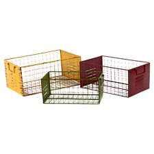 Metal Storage Basket Set of Three Assorted Color (Set of 3)