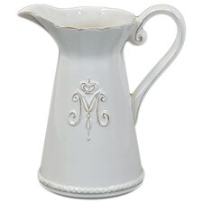 "9"" White Ceramic Pitcher"
