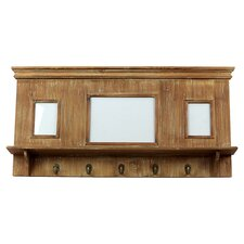 Wood Picture Frame with 3 Openings and 5 Metal Hooks Natural Wood Finish