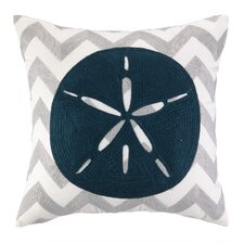 Nautical Embroidery Sand Dollar Pillow