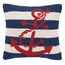 Nautical Hook Anchor Stripe Throw Pillow