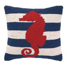 Nautical Hook Seahorse Stripe Pillow