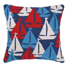 Nautical Hook Sailboats Away Pillow
