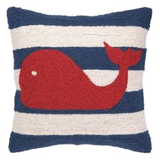 Nautical Hook Whale Stripe Pillow