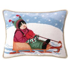 Sledding Cat Wool / Cotton Pillow