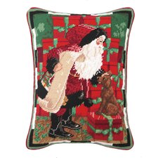 Santa with Dog Needlepoint Pillow