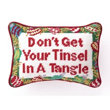"""Don't Get Your Tinsel.."" Needlepoint Pillow"