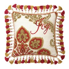 Joy Christmas Manor Needlepoint Pillow