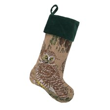 Owl Burlap Stocking