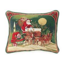Santa Riding Reindeer Needlepoint Pillow