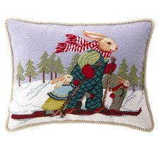 <strong>Peking Handicraft</strong> Ski Bunnies Wool / Cotton Pillow