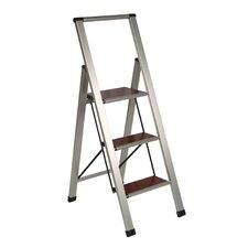 3.85' Brushed Aluminum/Wood Lightweight 3-Step Ladder