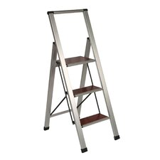 "46.25"" Brushed Aluminum/Wood Lightweight 3-Step Ladder"