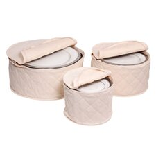 <strong>Richards Homewares</strong> Tabletop Storage 3 Piece Cotton Plate Case Set