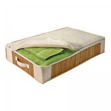 Bamboo and Natural Canvas Carmelized Bamboo Under Bed Storage Chest