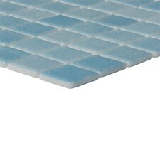 "Nieve 12-1/5"" x 18-1/10""  Glass Mosaic in Azul Claro"