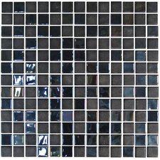 "Stone Glass Opalo 1"" x 1"" Mosaic in Black"