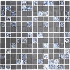"Nature Blend 13"" x 13"" Glass Mosaic in Upsala Dark Grey"