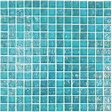 "Geo Glass Square 11-4/5"" x 11-4/5""  Glass Mosaic in Blue"