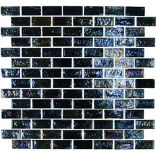 "Geo Glass Brick 11-4/5"" x 11-4/5""  Glass Mosaic in Black"