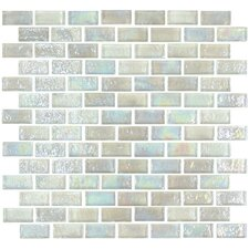"Geo Brick 1-3/5"" x 4/5"" Glass Frosted Mosaic in White"