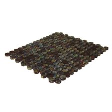 Geo Glass Circle Glass Mosaic in Brown