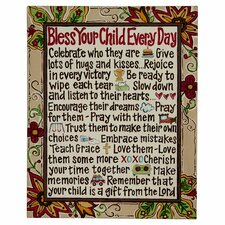 Bless Your Child Textual Art on Canvas