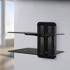<strong>AVF</strong> Unimax 'Any Wall' TV and AV Accessory Shelving with Two Shelves in Metallic Black/Silver
