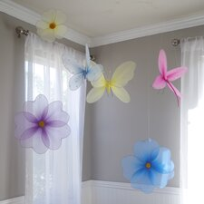 6 Piece Hanging Butterfly Flower Garden 3D Wall Décor Set