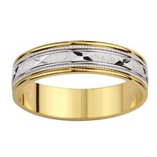 14k Two-tone Gold Men's Milgrain 'X' Design Easy Fit Wedding Band