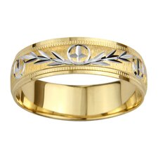 14k Two-tone Gold Men's Milgrain Cross and Leaf Design Easy Fit Wedding Band