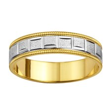 14k Two-tone Gold Men's Roman Milgrain Easy Fit Wedding Band