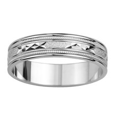 14k White Gold Ladies Triangled Grooved Easy Fit Wedding Band