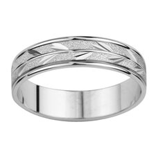 14k White Gold Men's Leaf Design Easy Fit Wedding Band