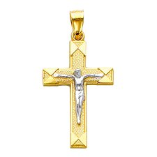 <strong>Precious Stars</strong> 14k Solid Yellow Gold Crucifiction Cross Pendant