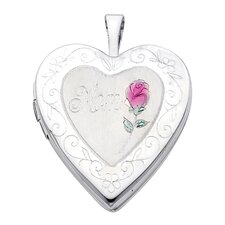 <strong>Precious Stars</strong> 14k Solid White Gold 'Mom' and Rose Engraved Fully Open Close Function Heart Locket Pendant
