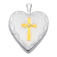 14k Solid White Gold Cross Engraved Fully Open Close Function Heart Locket Pendant