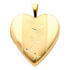 14k Solid Yellow Gold Butterflies Engraved Fully Open Close Function Heart Locket Pendant