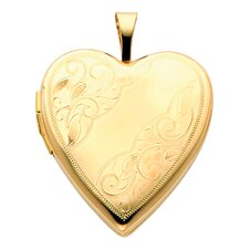 14k Solid Yellow Gold Leafs Engraved Fully Open Close Function Heart Locket Pendant