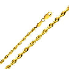 14kt Yellow Gold 3mm Solid Rope Bracelet (8in)
