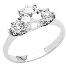 14K Gold Oval Shape Cubic Zirconia 3-Stone Engagement Ring