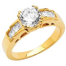 14K Gold Round Cubic Zirconia Fancy Engagement Ring