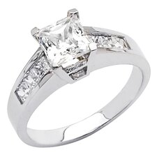 14K Gold Princess Cubic Zirconia Engagement Ring