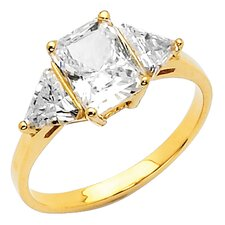 14K Gold Radiant and Triangles Cubic Zirconia Ring