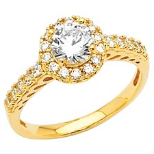 14K Gold Round Halo Cubic Zirconia Ring