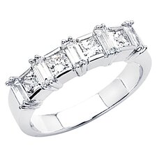 14K Gold Princess Baguette Cubic Zirconia Prong Ring