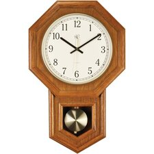 Radio Controlled Clock with Schoolhouse Design in Oak
